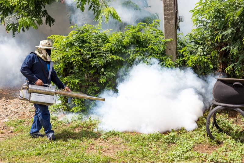 man is doing fumigation
